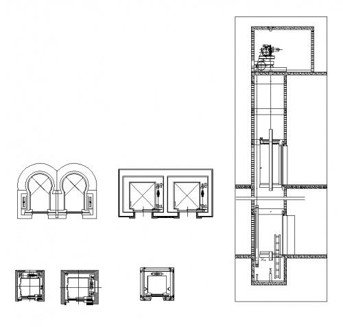 فایل اتوکد آبجکت کابین آسانسور و چاله آسانسور