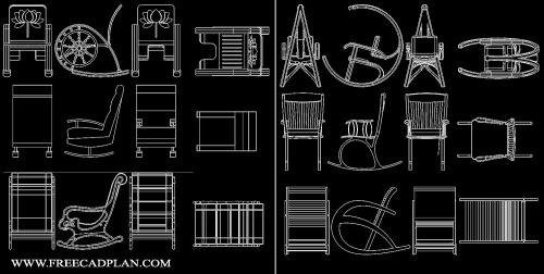 فایل اتوکد آبجکت صندلی راک یا صندلی گهواره ای