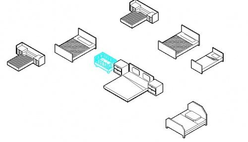 فایل سه بعدی اتوکد آبجکت تخت دو نفره + تک نفره