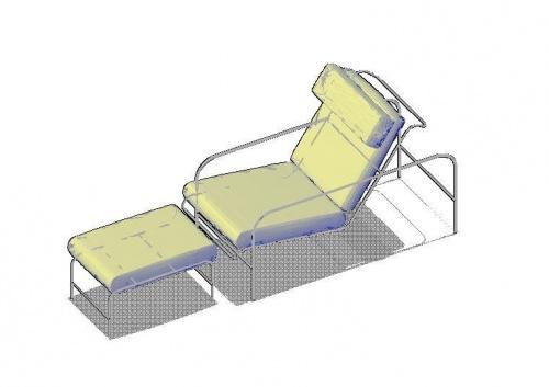 فایل اتوکد آبجکت صندلی راحتی شزلون (Chaise Longue)