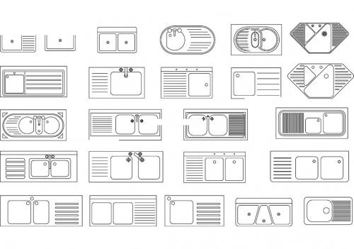 دانلود فایل اتوکد آبجکت سینک ظرفشویی