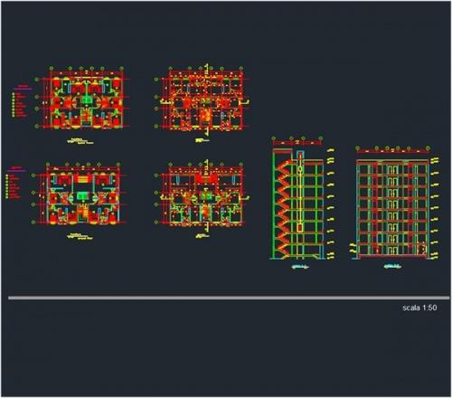 فایل اتوکد طراحی آپارتمان 8 طبقه