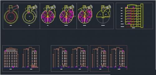 فایل اتوکد طراحی آپارتمان 7 طبقه به همراه پلان طبقات و برش و نما